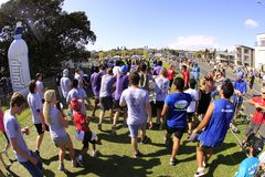 Auckland Run Walk Round the Bays. Participants of Auckland Round the Bays, one of the world's largest fun walk and run with an estimated 70,000 entrants, in Stock Photos