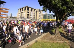 Auckland Run Walk Round the Bays. Participants of Auckland Round the Bays, one of the world's largest fun walk and run with an estimated 70,000 entrants, in Stock Photography