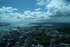 Auckland from the sky. A panoramic shot of Auckland from above Royalty Free Stock Images