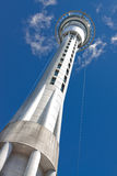 Auckland sky tower. Base view. with blue sky. The tallest fress-standing structure in the southern hemisphere stock images