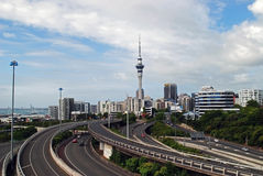 Auckland Sky tower and city freeway Stock Photos