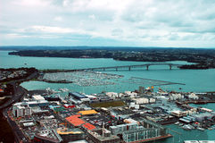 Auckland Sky Tower city & harbour aerial panorama in New Zealand. Royalty Free Stock Image