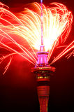 Auckland Sky Tower  firework display to celebrate 2016 New Year Royalty Free Stock Photo