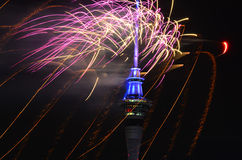 Auckland Sky Tower  firework display to celebrate 2016 New Year Stock Image