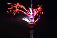 Auckland Sky Tower  firework display to celebrate 2016 New Year Stock Photography