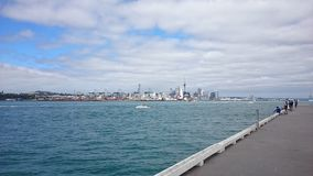 Auckland. Sky tower and harbour stock photo