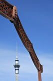 Auckland Sky Tower and Maori gate Royalty Free Stock Photo