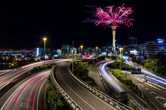 Auckland Sky Tower and Spaghetti Junction | Auckland, NEW ZEALAND Royalty Free Stock Photos
