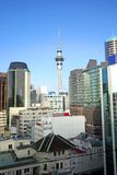 Auckland Skyline. View of Auckland, New Zealand with tower stock photo