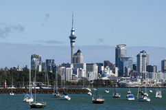 Auckland Skyline. AUCKLAND - APR 26:Auckland skyline from Hobson bay on April 26 2013.It's NZ's largest city with almost 400,000 people living within the city's Stock Photo