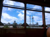 Auckland skyline as view from Dockline Wynyard Quarter Tram Royalty Free Stock Photography