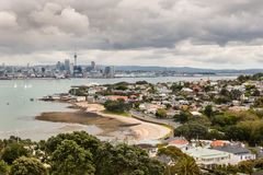Auckland skyline with Devonport suburb in New Zealand Stock Photography