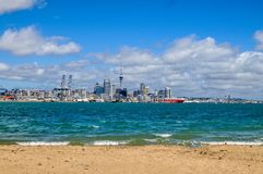 Auckland skyline. From the northern suburb Devonport on the north island of New Zealand Stock Image