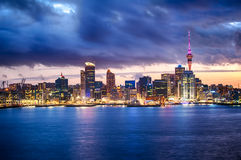 Auckland skyline. Skyline photo of the biggest city in the New Zealand, Auckland. The photo was taken after sunset across the bay Stock Images