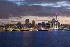 Auckland skyline. Skyline photo of the biggest city in the New Zealand, Auckland. The photo was taken after sunset across the bay Stock Photo