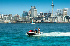Auckland Skyline & PWC - Jetski Stock Photo