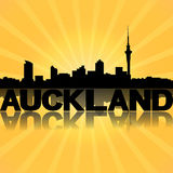 Auckland skyline reflected with sunburst Stock Photo