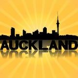 Auckland skyline reflected with sunburst Stock Photo