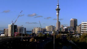 Auckland skyline from spaghetti junction stock video