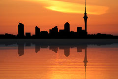 Auckland skyline at sunset Stock Photography