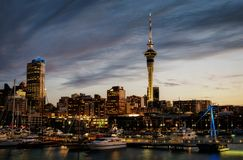 Auckland Skyline Sunset. Taken in 2015 Royalty Free Stock Image