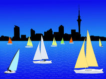 Auckland skyline with yachts Stock Photo