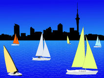 Auckland skyline with yachts Royalty Free Stock Images