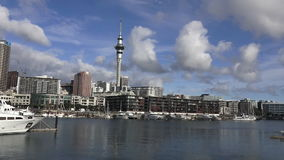 Auckland skyline and yachts mooring at Auckland Viaduct Harbor Basin stock footage