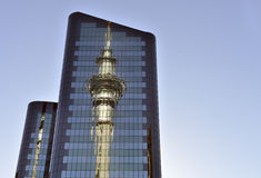 Auckland skytower Reflexion Stockfotos