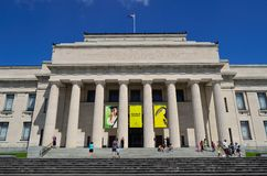 Auckland War Memorial Museum. Auckland, New Zealand, 25-02-2012, visitors on steps of museum Royalty Free Stock Photos
