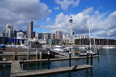 Auckland Waterfront Cityscape. Waterfront skyscaper cityscape on a sunny day Stock Photos