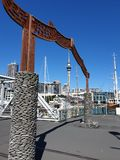Auckland waterfront. Maori skytower antenna boats city oceania australasia cityscape framed stock images
