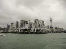 Auckland waterfront skyline on a cloudy day royalty free stock image