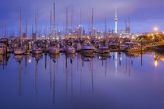 Auckland Westhaven Marina. Westhaven Marina with the Auckland Skytower and the CBD Royalty Free Stock Images