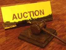 Auction. Hammer and plate , 3d illustration Stock Photography