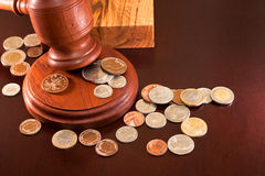 Auction. Eer hammer and coins from around the world Stock Photography