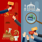 Auction banners hands and money buying antiques and real estate. Vector illustration Stock Photography