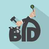 Auction Or Bid Typography Design. Vector Illustration Stock Images