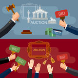 Auction and bidding banners sale antiques Royalty Free Stock Image