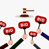 Auction and bidding concept. Hand holding auction paddle. People make bids. Flat illustration. Royalty Free Stock Photography