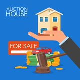 Auction and bidding concept vector illustration in flat style design. Selling house Stock Images