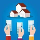 Auction bidding home house property concept sale hand holding cash money Stock Photos