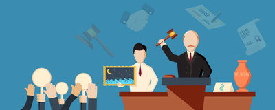 Auction and bidding horizontal banner Stock Image