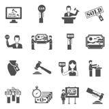 Auction Black White Icons Set Stock Photography