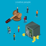Auction business trade mallet safe money flat isometric vector Stock Photography