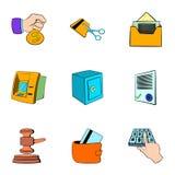 Auction card icons set, cartoon style Stock Photography