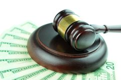 Auction. Concept with gavel on money background Stock Photography