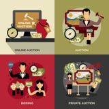 Auction Concept Icons Set Stock Image