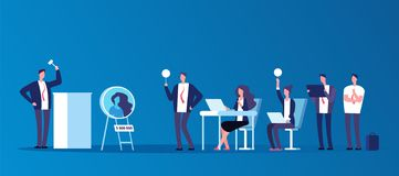 Auction concept. People people bidding in public auction house. Bidder, buyer and auctioneer vector characters. Auction and auctioneer, market trade royalty free illustration