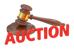 Auction concept with wooden gavel Royalty Free Stock Photography